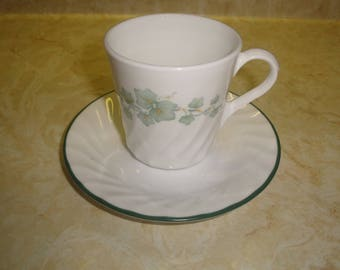 7 corelle cups saucers set callaway green ivy unused