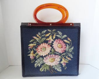 Vintage NAVY BLUE NEEDLEPOINT Bag|Vintage Needlepoint Tote Bag|Lucite Needlepoint Purse Market Purse|Vintage 1950s Handbags|French Tapestry
