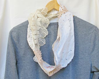 Boho Clothing Doily Scarf - Shabby Chic Rustic Bohemain Folk - Upcycled Cream White For Women Accessories