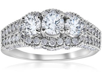 2 1/4ct Vintage Diamond Engagement Ring 14K White Gold Solitaire Round 3-Stone