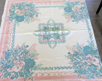 Vintage Printed Tablecloth White Cotton Pink and Teal Floral Design 48 by 50 Inches 941b