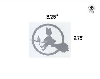 Kikis Delivery Service witch on a broom - sticker opaque decal fun fandom bumper sticker laptop decal witch and cat anime metallic silver