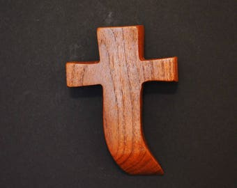 "Small Wall Cross;Holding Cross;Made in Texas; Crooked Cross;Cross Wall Decor; Mesquite; Wooden Wall Cross; 3""x5""x1""; cc5-6120117; Home Decor"