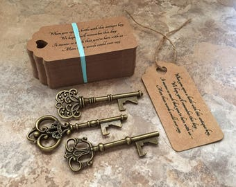 "Skeleton Key BOTTLE OPENERS + ""Poem"" Thank-You Tags – Wedding Favors set of 50 - Ships from United States - Antique Bronze - Mixed Styles"