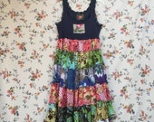Upcycled Colorful Floral Tank Dress, Boho Gypsy Loose Fit Summer Cotton Dress