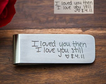 Custom Handwriting Gift, Anniversary Gifts for Men, Handwriting Money Clip, Engraved Money Clip Stainless Steel with real handwriting