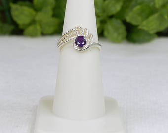 Purple Zircon Ring, Size 7, Natural Zircon, Grape Purple, Sterling Silver, Round Purple Zircon, Deep Purple Zircon, Small Purple Zircon