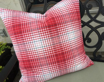 Vintage Americana Plaid Red White and Blue Ticking Decorative Throw Pillow Patriotic 4th of July Decor Antique Kelsch Fabric