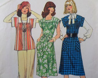 SQUARE NECK DRESS Pattern • Simplicity 7381 •  Miss 12-14 • Gathered Tunic Top • Belted Jumper Pattern • Vintage Patterns • WhiletheCatNaps