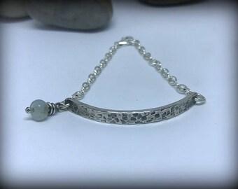 Sterling Silver Hammered Bar Bracelet