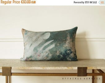 """ON SALE Art pillowcase. Plant motif. In the Greenhouse / Linen Oblong Cushion 14""""x 22"""".  Green..  /  FRAGMENTS"""