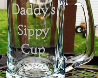 Daddys Sippy Cup Etched Glass Beer Mug fathers Day Gift Grandpa Papa Gift Personalized Beer Stein