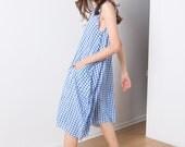 Picnic dress , plaid summer dress , sophisticated summer dress . midi length  cotton dress . Blue & white .