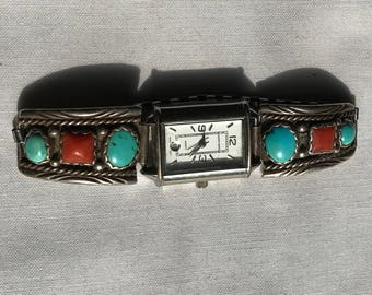 Vintage Southwest Turquoise And Coral Watch