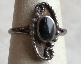 Sterling Silver Black Onyx Ring-Size 5