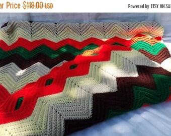 CHRISTMAS in JULY SALE Large Vintage Afghan Throw Blanket