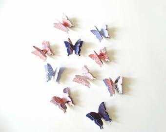 Designer 3D Paper Butterflies, garden party decor, butterfly birthday party, pink and blue butterflies, baby girl shower, boy baby shower
