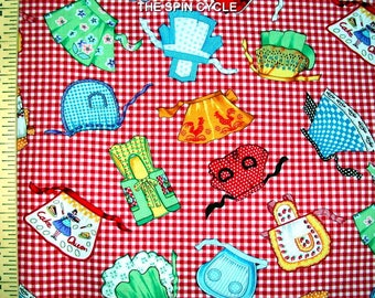 1 Yard Retro GINGHAM APRON TOSS Red 1950's 50's Kitchen Food Kitchy Cooking Picnic Plaid Check Michael Miller Quilting Sewing Fabric