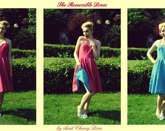 Dress reversible Turquoise and Fuchsia - 34 to 46 to order