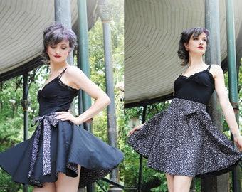 Black/grey leopard reversible skirt - all sizes