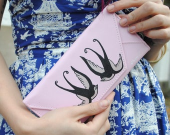 Hand painted wallet / one-off - swallows