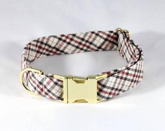 The Dapper Gent Classic Plaid Dog Collar, Tan and Maroon