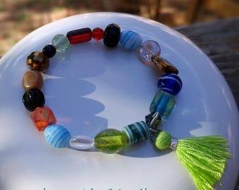 Green Tassel Charm Bracelet