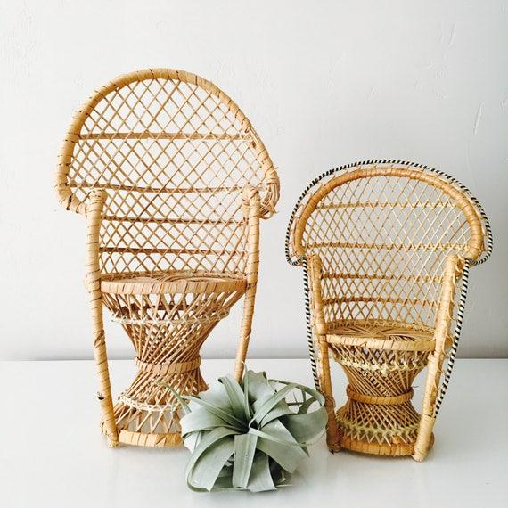 Vintage Wicker Peacock Chair Planter Boho Plant Stand Doll Chair Bohemian Home Decor