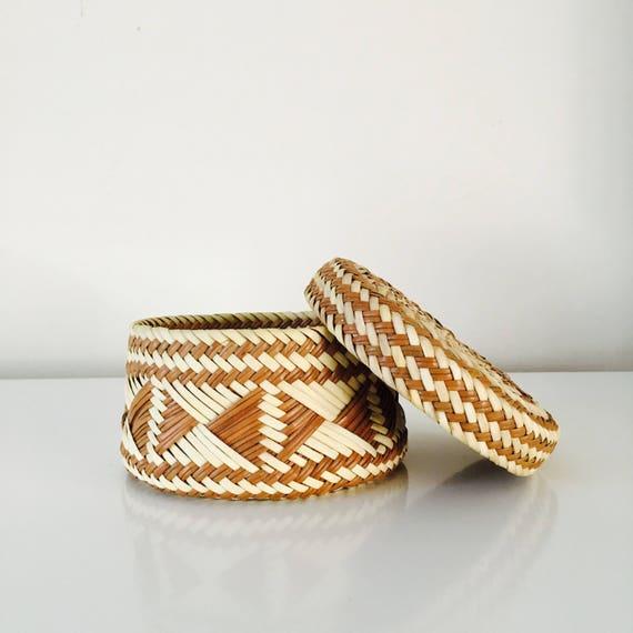 Vintage Woven Basket with Lid Tribal Aztec Pattern Southwestern Decor Trinket Basket Jewelry Storage