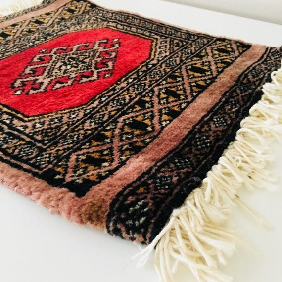 Vintage Maroon Oriental Carpet Miniature Wool Table Mat Rug Dusty Rose Plant Coaster Boho Decor Placemat