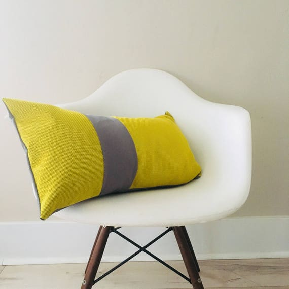 "SALE Yellow Pillow Cover 14""x24"" Lumbar Pillow Cushion Modern Perforated Yellow Gray Color Block Design"