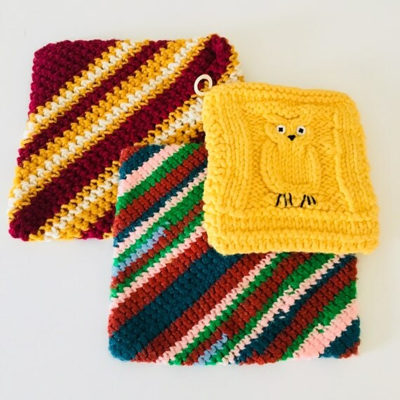 Vintage Knitted Hot Pads Colorful Maroon Green Teal Hand Knitted Pot Holders Yellow Crocheted Button Eyed Owl