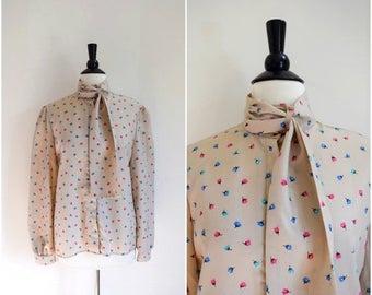 Summer Sale Vintage John Weitz tan floral tie-neck blouse