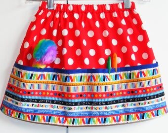 Red  back to school   4 pocket skirt  (2T, 3T, 4T, 5T, 6, 7, 8, 10)