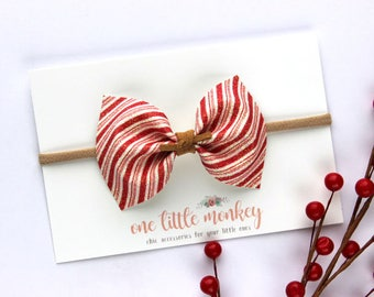 Candy Cane Shimmer {MILLIE} Bow - Holidays 2017 - Christmas - Stocking Stuffer