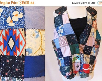 1/2 Off SALE Vintage 60s Patchwork Vest, Handmade Vest, Patch Hippie Vest