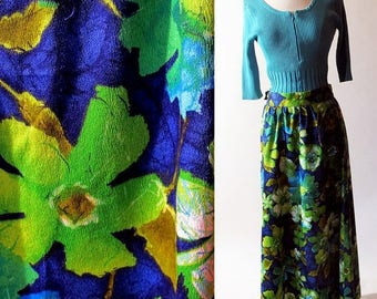 1/2 Off SALE Vintage Maxi Skirt / Cotton Flower Skirt, 60s Green Blue Skirt