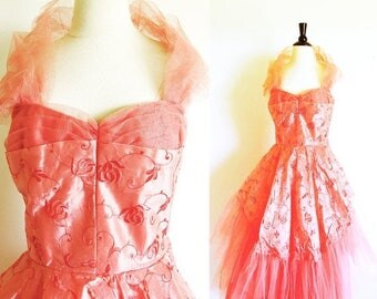 1/2 Off SALE Vintage 50's Tea Length Tulle Party Dress, Coral Gown, Nipped Waist, Sweetheart Neckline