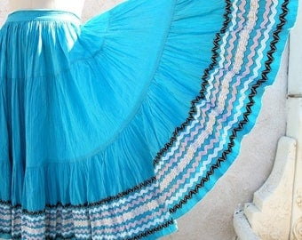 1/2 Off SALE Vintage 50's Mexican Full Circle Skirt, Turquoise Fiesta, Patio, Tiered, Rick Rack, Southwest Skirt