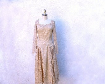 1/2 Off SALE William Cahill Gown, 60s Beige Lace Tea Length Wedding Dress