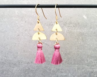 Mini tassel earrings - pink mauve mini tassel earrings with nickel free gold hooks and brass charms - 6cm/2.36in drop - silk tassels