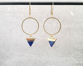 Gold circle + faux blue howlite triangle drop earrings with nickel free gold plated hook earrings