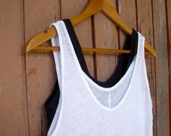Pack of 2 Linen Tops Charcoal & White, Linen Tank Tops