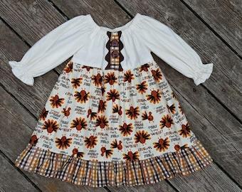 Girl's Toddlers Thanksgiving Turkey Gobble Gobble Gobble Ruffle Peasant Dress
