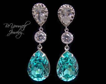 Teal Blue Bridal Earrings Sea Green Teardrop Bride Earrings Swarovski Crystal Light Turquoise Wedding Jewelry Something Blue Bridesmaid Gift