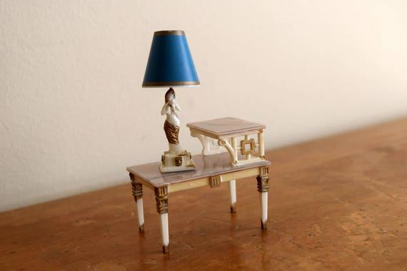 Vintage Petite Princess Dollhouse Table & Goddess Lamp - Miniatures, Fairy House, Mid Century