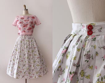 vintage 1950s skirt // 50s cotton floral skirt