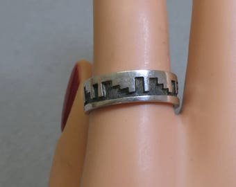 Desertscape Sterling Silver Band Ring, Size 7.50, Native American