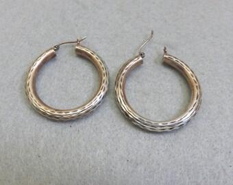Sterling Silver 1 3/8ths Inch Hoop Pierced Earrings, Vintage, Diamond Cutting