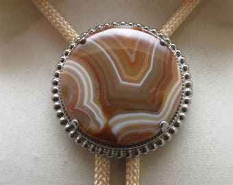 Vintage Brown and White Lined Agate Bolo Tie